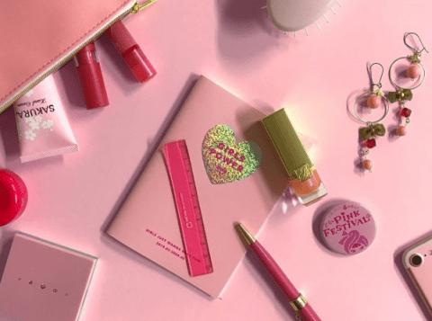 ピンクのワンポイントアイテムについての画像