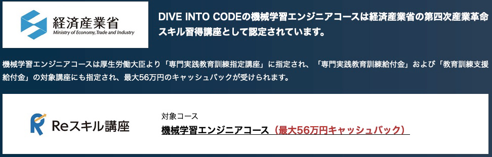 DIVE INTO CODEキャッシュバック