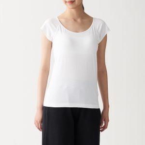 シルク入りカップ入りフレンチスリーブTシャツ 婦人XS・白